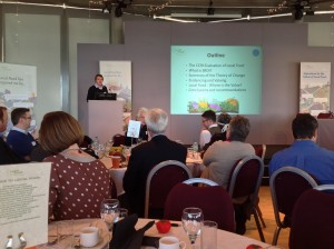 Professor Courtney presents the initial findings of the Local Food SROI at a Local Food Celebration event