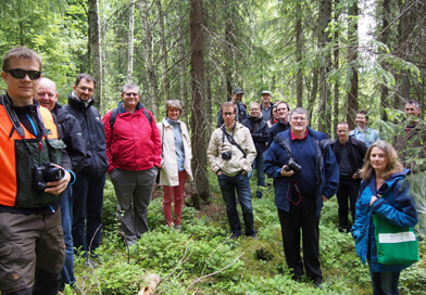 Dr Pete Gaskell, Jane Mills and Dr Julie Ingram with VALERIE colleagues in the forest in Helsinki, June 2015