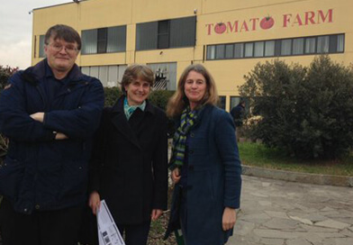 Peter Gaskell, Julie Ingram and Jane Mills visit a tomato farm in Alessandria