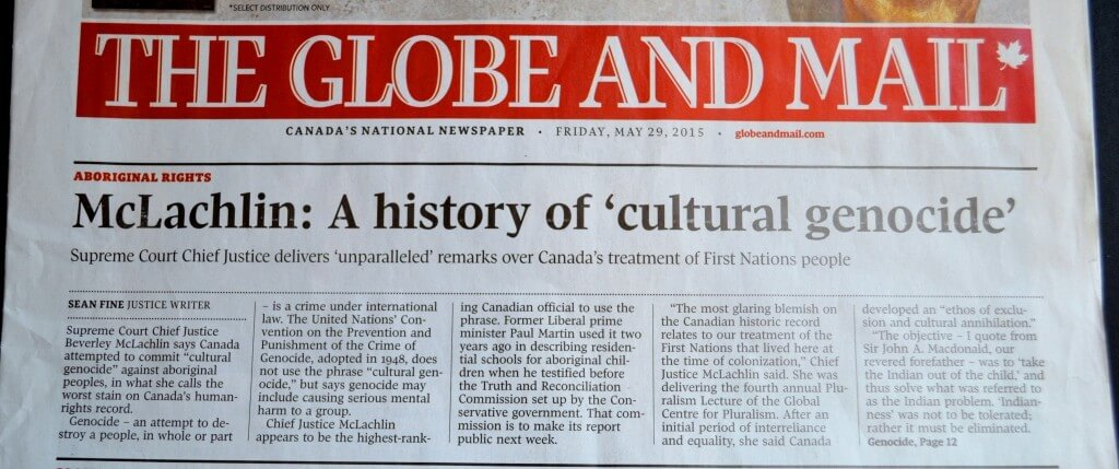 Canada's national newspaper: the Globe and Mail headline 29th May 2015