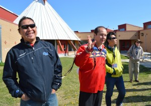 Arrival at Alexis Sioux Nation - greeted by Lyndon and Lloyd