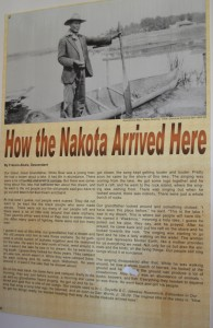 Poster in the school telling story of how the Nakota Sioux came to Lake Wakamne