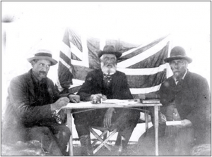 Treaty No. 8 commissioners, northern Alberta, 1899. Left to right, Harrison Young, secretary: Honourable David Laird, commissioner; Pierre D'Eschambault, interpreter. (Source: Glenbow Archives)
