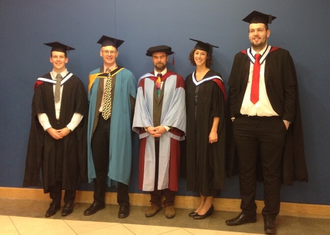 Celebrations as first five graduates from MSc in Sustainable Environments receive their awards
