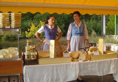 Local cheese in the Swiss village of L'Etivaz