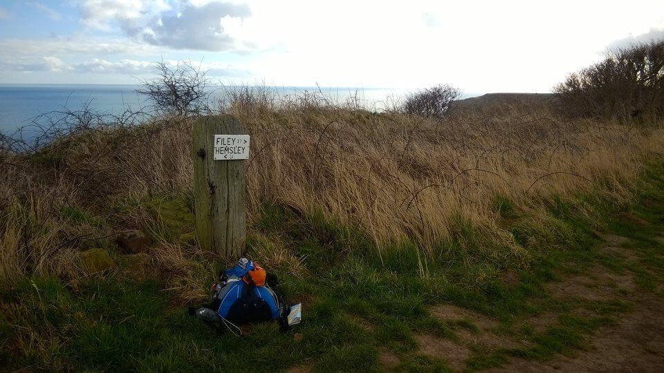 A coastal view on the Cleveland Way (with typical baggage)
