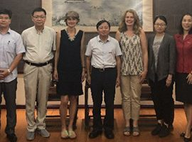Julie Ingram and Jane Mills discuss potential research collaborations in China